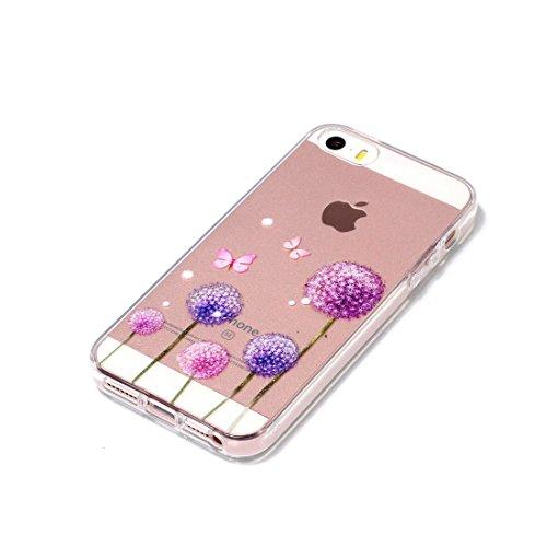 iPhone 5 Custodia, Cartoon Margherite - TPU Silicone Trasparente Nuovo Gel Soft Case iPhone 5 SE 5S 5G Custodia durevole Cartoon Cover, Prova di scossa anti-graffio # # 10