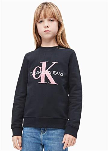 Calvin Klein Jeans Mädchen Sweatshirt Monogram Terry schwarz 12 (152) (Kleine Mädchen-schwarz-sweater)