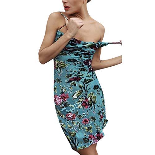 Sling Drucken Kleid,Damen-Kleider,VRTYOC Ärmellos Bedrucktes Kleid V-Ausschnitt Zurück öffnen Sommer-Minikleid Böhmen Gerades Kleid Sexy Strandkleid Party Backless Kleider -