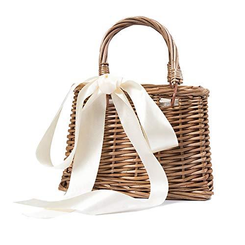 louzheni Bolso de mano de estilo retro hecho a mano para la playa cesta de almacenamiento bolsa de almuerzo bolsa de ratán tradicional cesta de picnic cesta de decoración de lazo nudo con cubiertos