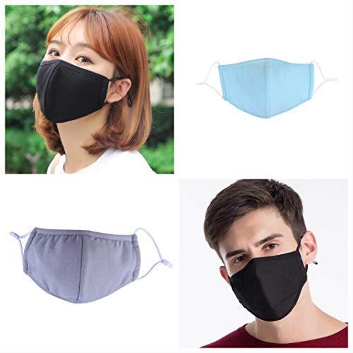 thematys 4er Set Mundmaske wiederverwendbar - Mundschutz Maske aus Baumwolle in schlichtem Design für Verschiedene Anlässe