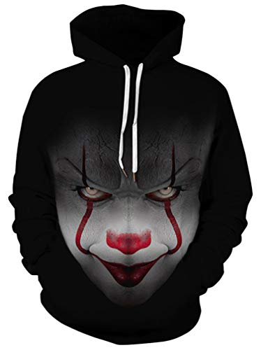 Ocean Plus Jungen 3D Kapuzenpullover Spaß Sweatshirt Hoodie mit Kängurutasche Sportlich Digitaldruck Pullover mit Kapuze (XL (Körpergröße: 135-145cm), Teufel Clown) Clown Kinder Sweatshirt