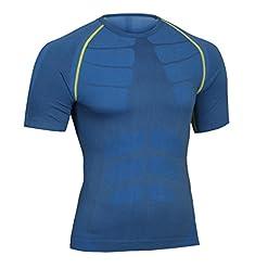 Bwiv maglietta compressione uomo manica corta leggera e attillata