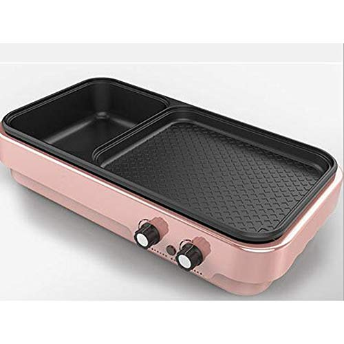 Eléctrico Sin humo Parrilla para interiores Utensilios de cocina de olla caliente multifunción Wok saludable,Pink