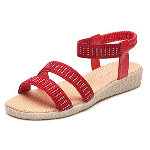 Webla Frauen flache Schuhe Elastizität Bohemia Freizeit Dame Sandalen Peep-Toe Outdoor Schuhe Damen Dianetten Sandalen Zehentrenner Sommer Schuhe Rot