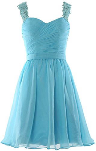 MACloth Women Lace Straps Chiffon Short Prom Homecoming Dress Formal party  Gown Himmelblau