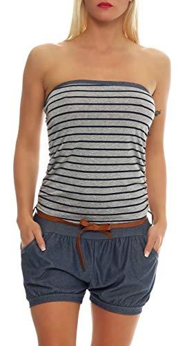 kurzer Marine Jumpsuit im Jeans-Look 9646 Damen One Size (dunkelgrau)