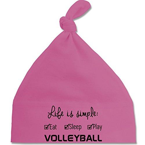 Sport Baby - Life is simple Volleyball - Unisize - Pink - BZ15 - Baby Mütze mit einfachem Knoten / Bommel als Geschenkidee