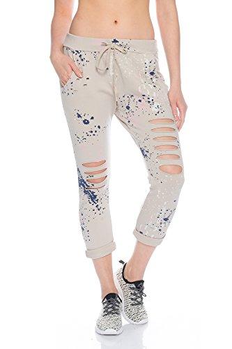 Fashionflash Damen knöchellange Hose zerissen (one Size, beige)