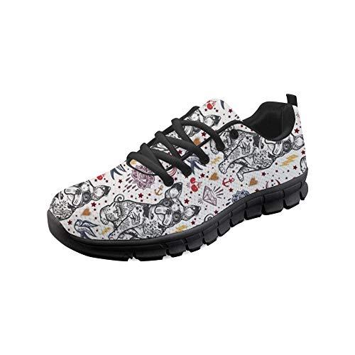 Coloranimal Spring Autumn Running Walking-Turnschuhe für Damen Herren Flexible Elastic Anti-Rutsch-Schnürschuhe Flaches Leichtes Jogging Flache Tennis-Schuhe EU-Größe 37