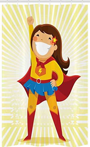ABAKUHAUS Superheld Schmaler Duschvorhang, Heldin Girl Kostüm, Badezimmer Deko Set aus Stoff mit Haken, 120 x 180 cm, (Cool Girl Superhelden Kostüm)