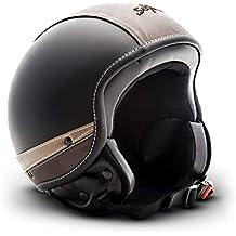 SOXON SP-301-URBAN Black Retro Cruiser Casco Demi-Jet Vespa Urbano Mofa Biker Vintage Urban Chopper Bobber Scooter Piloto Moto Motocicleta Helmet, ...