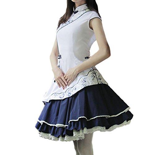Partiss Damen Frauen Weisse Stehkragen Cotton Blend Lolita Kleid S White