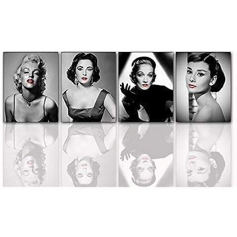Lienzo Diven Set 4Piezas Por 40x 50cm Marilyn Monroe, Audrey Hepburn, Marlene Dietrich, Liz Taylor. Pared Imagen sobre bastidor. regalo Idea Modern. Calidad de Alemania.