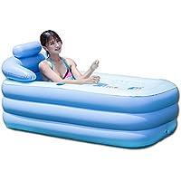 OUkANING - Bañera hinchable portátil de PVC plegable, color azul