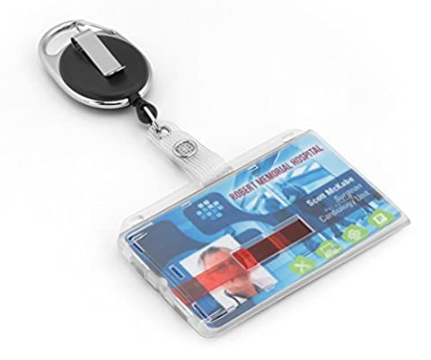 Retractable ID badge holder with tearproof saftey cord for up to 2 cards by BE-HOLD. The ID holder keeps your license/ID safe and can easily be removed with the two red slides for each