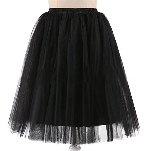 Honeystore Damen's 5 Layer Knielanger Rock Elastic Bund Tutu Prinzessin Tütü Tutu Petticoat Ballettrock One Size Schwarz