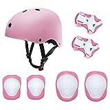 Set di protezioni per bambini, pattini a rotelle Skateboard BMX Scooter Ciclomotori protettivi (ginocchiere + gomitiera + elmetto da polso) Rosa