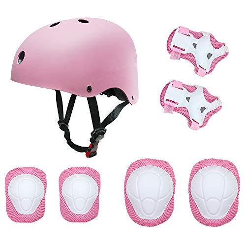 Kinder Sport-Schutzausrüstung von KUYOU, 7PCS Knieschoner Ellenbogenschoner Handgelenkschutz Helm Schutzset zum Draußen Rollschuhlaufen Inline Skates Skateboarding Radfahren (rosa)