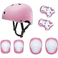 Conjunto de equipo de protección para niños, patín de patinaje sobre ruedas BMX Scooter Ciclismo Protector almohadillas de engranaje (Almohadillas para rodillas + almohadillas de codo + almohadillas para muñeca casco) Rosa