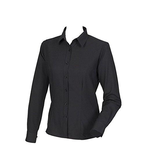 Henbury Womens Wicking Anti-Bacterial Long Sleeve Shirt Black