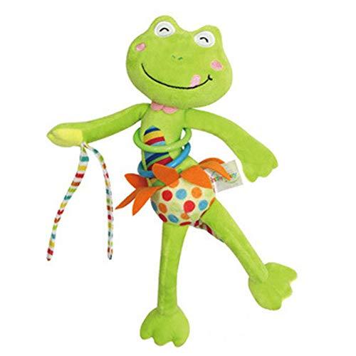 Baby Kinderwagen Spielzeug Spieltier Cartoon Plüschtier mit Vibration Motorikspielzeug zum Aufhängen Kuscheln und Greifen für Babys und Kleinkinder ab 0+ Monaten, Frosch