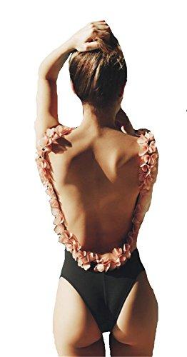 YOGLY Sexy Maillot de Bain une Pièce body Guide Amincissante Slim Bikini épaule remnourré fleur rose dos nu Push up Triangle