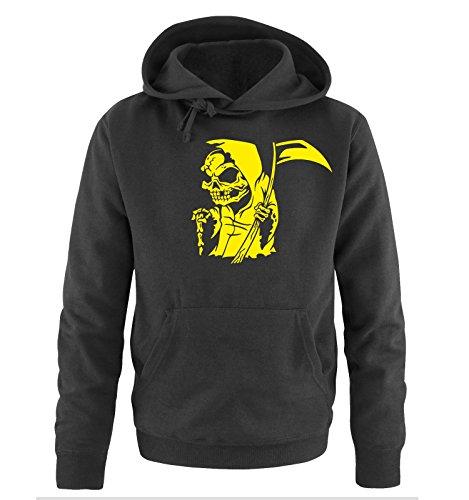 Comedy Shirts - COMIC REAPER - Uomo Hoodie cappuccio sweater - taglia S-XXL different colors nero / neon giallo
