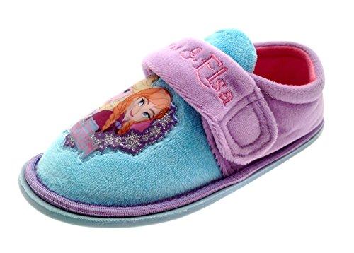 Disney - Zapatillas de estar por casa para niña Frozen Lilac/Blue Velcro