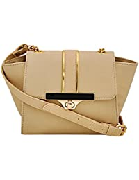 Yelloe Beige Synthetic Leather Sling Bag Women SA6S9012J
