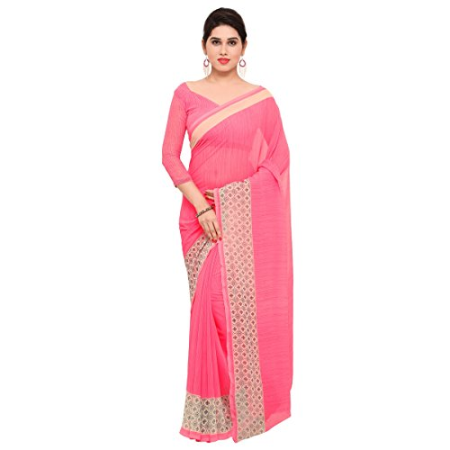 Triveni Womens Chiffon Printed Everyday Wear sarees with Blouse Piece (Pink)