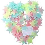 100 قطعة من ملصقات الحائط البلاستيكية المضيئة، نجوم فلورسنت تتوهج في الظلام