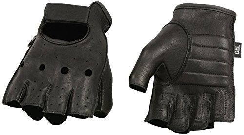 Shaf International Deer Skin Fingerless Gloves with Gel Padded Palm (Black, XX-Large)