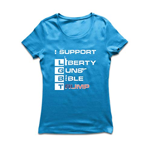 lepni.me Frauen T-Shirt Liberty Guns Bibel Trump, lustig, ich unterstütze LGBT, Parodie US-Wahlen (Medium Blau Mehrfarben)