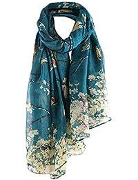 Femmes Foulard Écharpe Longues Châle Fleur Musulman Beauté Doux Élégant Chic  Vintage, QinMM Léger et 244bc8db87f