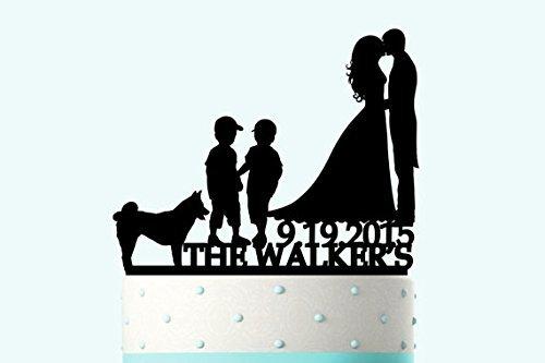 Personalizado familia decoración para tarta para boda personalizada novia y novio decoración para tarta para aniversario con perro Niños divertidos Regalos de boda para la pareja