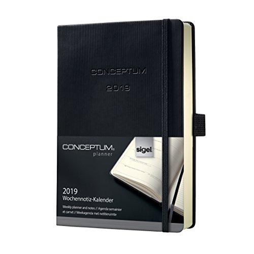 Sigel C1914 Wochennotiz-Kalender 2019, ca. A5, schwarz, Hardcover CONCEPTUM - weitere Modelle