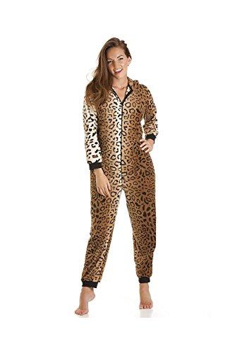 Schlafanzug Leoparden-Muster aus Fleece -  Gold/Braun