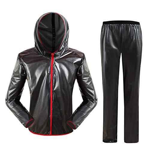 Regenbekleidung PVC für Fahrradmotorrad Golf Fisch Kapuze Regen-Jacke und Hose Anzug Leichtes winddichtes und atmungsaktives Schwarz