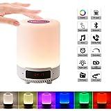 5 in 1 Lampada da comodino portatile ricaricabile a luce notturna, lampada da tavolo Altoparlante Bluetooth Musica Sveglia USB Luce colorata con carta di TF, regalo per uomini/donne/bambini