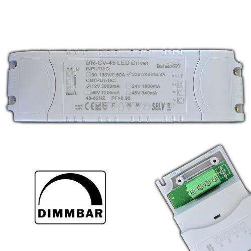 Preisvergleich Produktbild Dimmbarer LED Trafo 12V DC 1 - 45 Watt Netzteil dimmbar Treiber Transformator für Dimmer G4 MR16 GU5.3