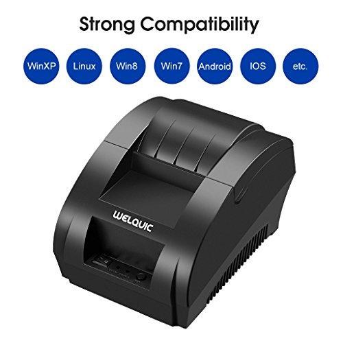 WELQUIC Thermodrucker Drucker ESC/POS Printer Bondrucker USB + Kassenschublade für 58 x 50mm und iOS Android Windows, 90mm/s
