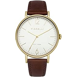 Fiorelli Women's Quartz Watch with White Dial Analogue Display and Brown Leather Strap FO005TG