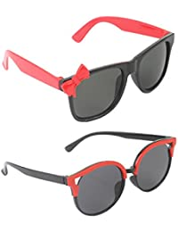 Stol'n Kids Wayfarer And Bow Sunglasses Combo Pack Of 2 Pieces For Girls/Black And Red/Gift Pack