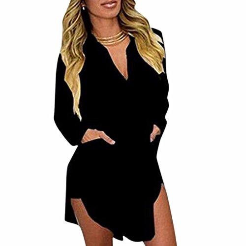 QIYUN.Z Frauen Kleiden Langen Heißen Chiffon- Hülsenrevers V Ansatz Hemden Bluse Unregelmäßigen Rand Schwarz