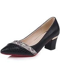 Las Mujeres Puntas de los pies Tacones Altos de Piel de Serpiente Zapatos  de Cuero Gruesos ba973a69b435