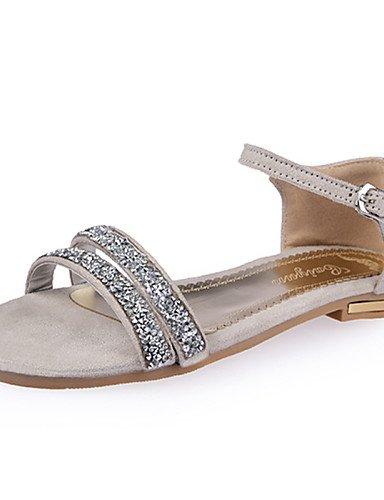 UWSZZ IL Sandali eleganti comfort Scarpe Donna-Sandali-Casual-Aperta-Piatto-Finta pelle-Rosso / Grigio / Beige Red