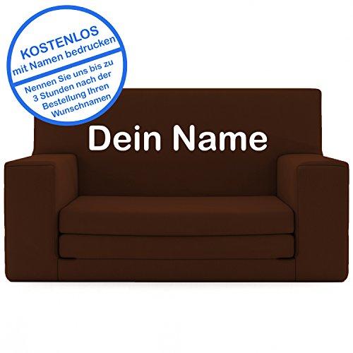 2 in 1 Kindersofa in Espresso mit Waschbarem Überzug - Als Geschenk Individuell Bedrucken - Schaumstoff aus Deutschland Spielzeug Couch und Bett Schlaf Matratze zum Auffalten für Kinder von 1-4