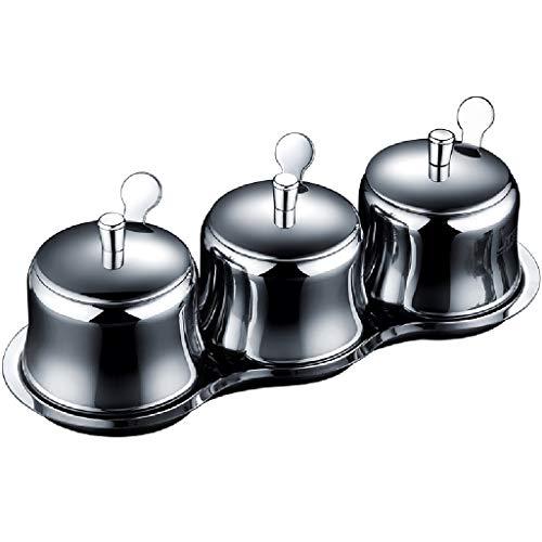 Pots à épices Étagère À Épices Assaisonnement En Acier Inoxydable Avec Cuillère Boîte D'assaisonnement Salière Pour Assaisonnement Grande Boîte D'assaisonnement Pour Cuisine Combinaison De Rangement P