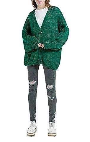 Women Oversize Long Sleeve V-neck Open Front Button Down Short Cardigan Sweater Coat (Button-down-cotton Cardigan)